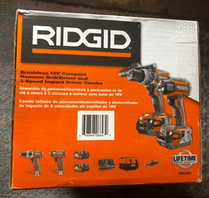 NIB Ridgid R9205 Cordless Hammer Drill/Impact Driver 18V 2 Batteries/Charger