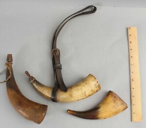 3 Antique Early 19thC Black Powder Gun Hunting Powder Horn Gunpowder Flasks