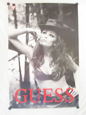 "GUESS JEANS ORIGINAL FULL SIZE PROMO POSTER 36"" X 24"" COWBOY HAT AND BRA STYLE"