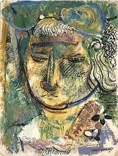 SAUL LISHINSKY (1922-2012) - PORTRAIT OF A LADY & INK, OIL ON PAPER DRAWING