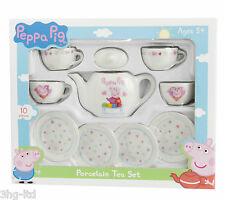 Peppa Pig 10 Piece Porcelain Tea Set Toy Inc 4 Cups & 4 Saucers & Teapot New