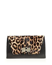$825 DIANE von FURSTENBERG Women leopard hair clutch jet set PURSE  BAG HANDBAG