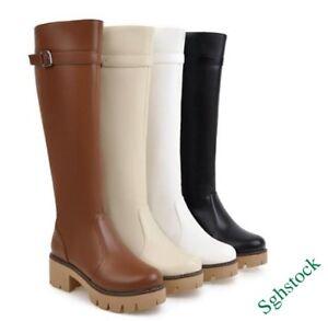 Vintage Women's Knee High Boots Faux Leather Platform Block Shoes US4.5-10.5 NEW