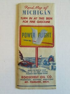 Extremely Rare 1940 Power Flight Gasoline Michigan Map Service Station EA194