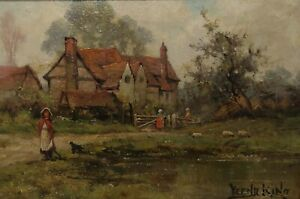 Henry John Yeend King 1855 - 1924 - Landscape With Pond Houses And People