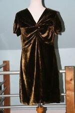 Catherine Andre Brown Velvet Above Knee Twist Front Short Sleeve Dress - L