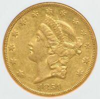 1851 O $20 Liberty Head Gold Double Eagle NGC AU-55