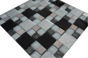 Edelstahl Glas Mosaik Fliesen Glasmosaik Matte Schwarz Weiss Silber Wand, 711M