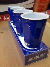 Absolute Vodka Facet LED illuminated shelf platform & 4 x ice themed cups New