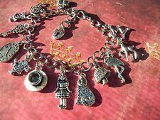 ALICE in WONDERLAND Charm Bracelet Teapot Teacup Rabbit Watch Silver Finish