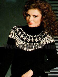 Knitting Patterns Ladies Classic Fair Isle/Ski/Nordic Yoke Sweater & Leg Warmers