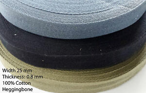 25MM Cotton Webbing Apron HERRINGBONE HABERDASHERY TRIMMING SEWING Bunting Tape