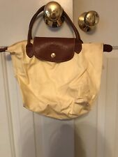 Longchamp Light Yellow Nylon & Brown Leather Small Le Pliage Tote