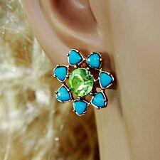 Boucle d`Oreille Clous Puces Fleur Bleu Vert  Super Joli Belle Couleur NN 2