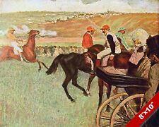 HORSE JOCKEYS BEFORE THE RACE RACING ART PAINTING REAL CANVAS PRINT