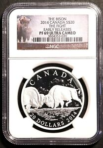 """2014 Canada Bison $20  1 Oz Silver """"The Fight"""" NGC PF69 Early Release"""