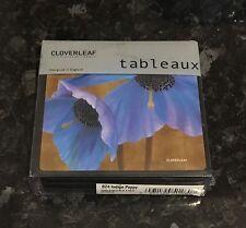 Brand New Cloverleaf Tableaux Coasters Set Of 4 Indigo Poppy