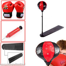 KIDS CHILDREN BOXING PUNCHING BALL MAT W/ GLOVES ADJUSTABLE HEIGHT TOY XMAS GIFT