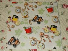 Vtg Wrapping Paper 19� x 25� Nos Gift Wrap All Occasion Men Pocket Watch Dad Pop