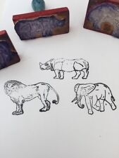 Set Of Vintage Rubber Stamps Made In Poland - African Animals
