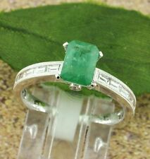 Emerald Solitaire with Accents White Gold 14k Fine Rings