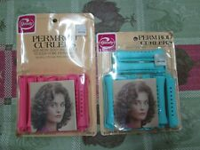 Lot Vintage Goody Perm Rod Curlers Pink 14 Medium Count USA Plus Blue Rods