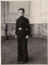 1951 Handsome young teen boy man Cadet school parade jock uniform Russian photo