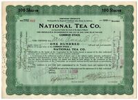 National Tea Co. Stock Certificate 100 shares