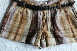 Joie Linen Women Shorts Tan Dark Khaki 12 Metallic Thread Brown Plaid NWT