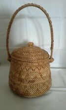 Vintage Ethnic Basket Very Finely Woven With Lid