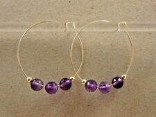 14kt YG Filled Amethyst Checkerboard Bead Hoop Earrings - 1.75""