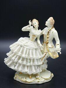 "WILHELM RITTIRSCH DRESDEN ART GERMANY ""DANCING COUPLE"" PORCELAIN LACE FIGURINE"