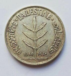 Palestine Coin 100 Mil Mils 1940 KM7 720 Silver gVF British Mandate In Israel