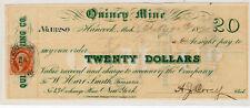 1870 US Bank Check, Quincy Mine, Hancock, MI - $20 Dollars - Paid*