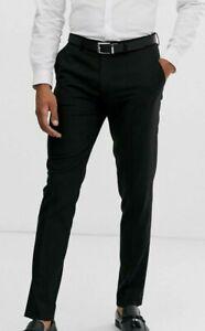 "ASOS DESIGN men's skinny smart pants in black w 30"" L 30"""