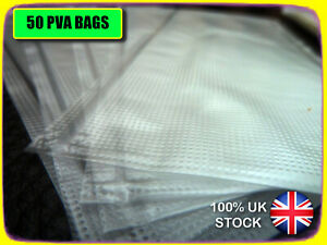 50 x PVA BAGS 60 x 100mm FOR CARP BOILIES, PELLETS. LICK 'N' STICK. VERY STRONG