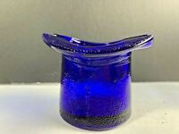 "Vintage COBALT BLUE Glass Top Hat  ASHTRAY - 2 3/8"" Tall"