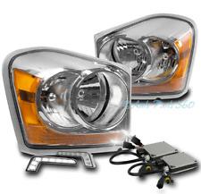 04-05 DODGE DURANGO SUV CRYSTAL HEADLIGHT LAMP CHROME W/DRL LED SIGNAL+XENON HID