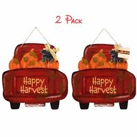 2X Autumn Decor Glitter Text Truck Shaped ''Happy Harvest'' Hanging Sign