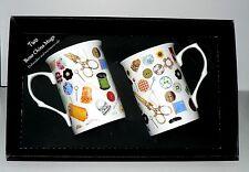 Sewing mug gift set 2 x bone china mugs with needlework print in black gift box