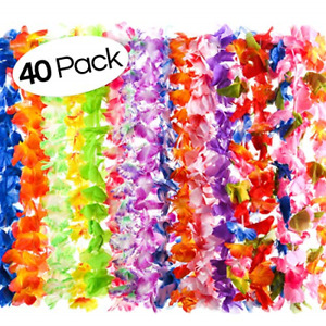 40 Count Hawaiian Flower Lei for Luau Party - Bulk Set of Floral Necklace Leis