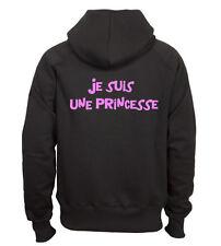 Sweat shirt à capuche noir femme  fruit of the loom JE SUIS UNE PRINCESSE