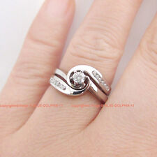 Real Genuine Natural Diamonds Solid 9k White Gold Engagement Wedding 2 Rings Set
