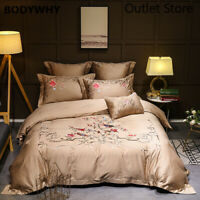 Luxury Oriental Embroidery Golden Grey Bedding Set Egyptian Cottton Duvet Cover