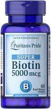 Puritan's Pride Super Biotin 5000 mcg 60 Rapid Release Capsules EXP 03/2022