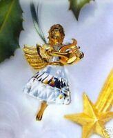 NEW Swarovski Crystal 1998 ANNUAL ANGEL Christmas ORNAMENT Gold Harp FIGURINE