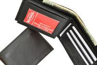 Black Genuine Leather Men's Slim Bifold Wallet Flap Top ID Window Front Pocket
