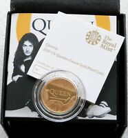 2020 Royal Mint Music Legends Queen £25 Pound Gold Proof 1/4oz Coin Box Coa