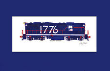 "Central Vermont Bicentennial GP9 #1776 11""x17"" Matted Print Andy Fletcher signed"