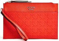 NWT GUESS MISAY WRISTLET BAG Red Logo Clutch Pouch Handbag Wallet GENUINE